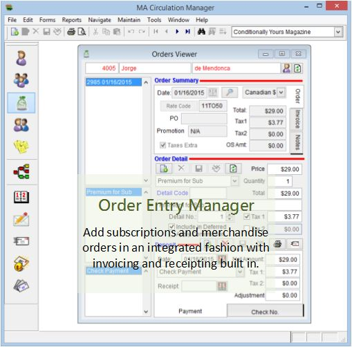 Order Entry and Management Screen
